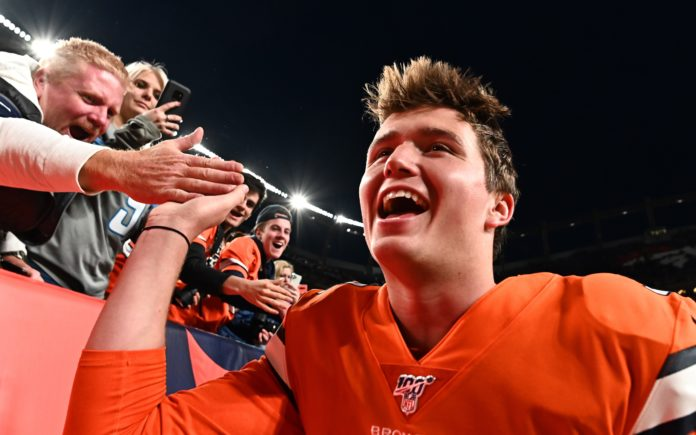 Drew Lock. Credit: Ron Chenoy, USA TODAY Sports.
