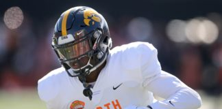 Michael Ojemudia at the Senior Bowl. Credit: Chuck Cook, USA TODAY Sports.