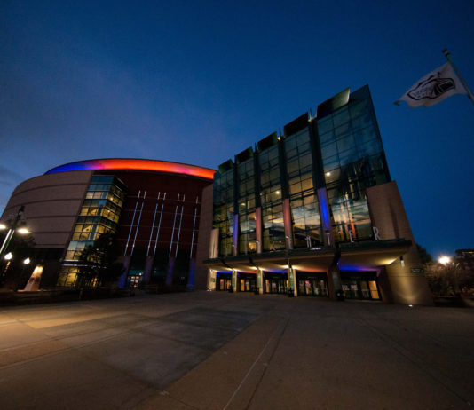 A general view of the Pepsi Center where the game between the Colorado Avalanche and Vancouver Canucks was cancelled after the postponement of the NHL season due to the COVID-19 coronavirus.
