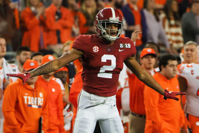 Alabama Crimson Tide defensive back Patrick Surtain II (2) reacts during the first quarter during the 2019 College Football Playoff Championship game against the Clemson Tigers at Levi's Stadium.