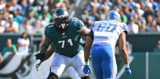 Philadelphia Eagles offensive tackle Jason Peters (71) looks to block Detroit Lions defensive end Trey Flowers (90) at Lincoln Financial Field.