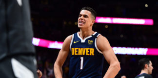 Denver Nuggets forward Michael Porter Jr. (1) reacts to his three point basket in the second half against the Utah Jazz at the Pepsi Center.