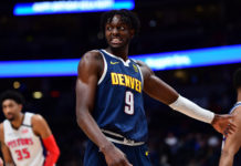 Denver Nuggets forward Jerami Grant (9) celebrates defeating the against the Detroit Pistons at the Pepsi Center.