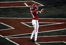 Alabama Crimson Tide wide receiver Jerry Jeudy (4) celebrates a touchdown pass during the first quarter against the Alabama Crimson Tide during the 2019 College Football Playoff