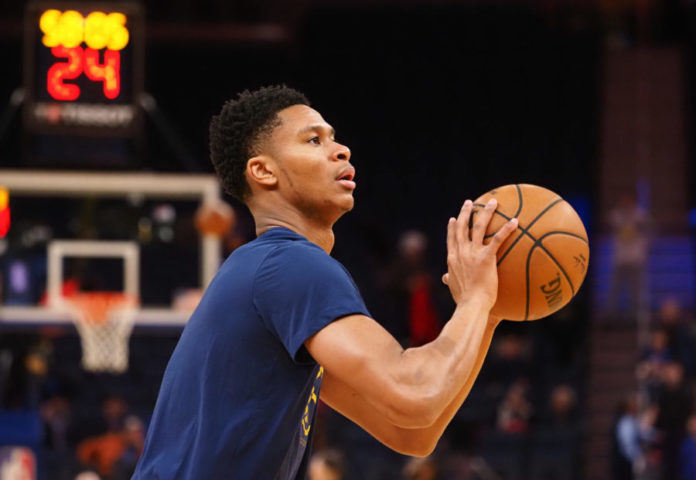 San Francisco, California, USA; Denver Nuggets guard PJ Dozier (35) warms up before the game against the Golden State Warriors at Chase Center.