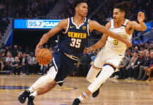 Denver Nuggets guard PJ Dozier (35) drives against Golden State Warriors guard Jordan Poole (3) during the first quarter at Chase Center.