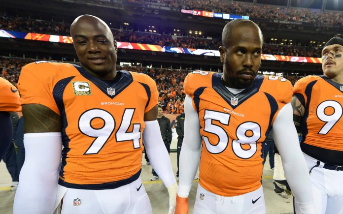 DeMarcus Ware, Von Miller and Derek Wolfe. Credit: Ron Chenoy, USA TODAY Sports.