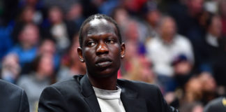 Denver Nuggets center Bol Bol (10) on the bench in the fourth quarter against the Detroit Pistons at the Pepsi Center