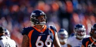 Denver Broncos guard Dalton Risner (66) in the second quarter against the Tennessee Titans at Empower Field at Mile High.