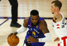 aul Millsap #4 of the Denver Nuggets drives the ball past Matt Thomas #21 of the Toronto Raptors during the second quarter at The Field House at ESPN Wide World Of Sports Complex on August 14, 2020 in Lake Buena Vista, Florida.