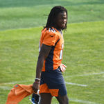 Denver Broncos wide receiver Jerry Jeudy (10) before the start of training camp at the UCHealth Training Center.