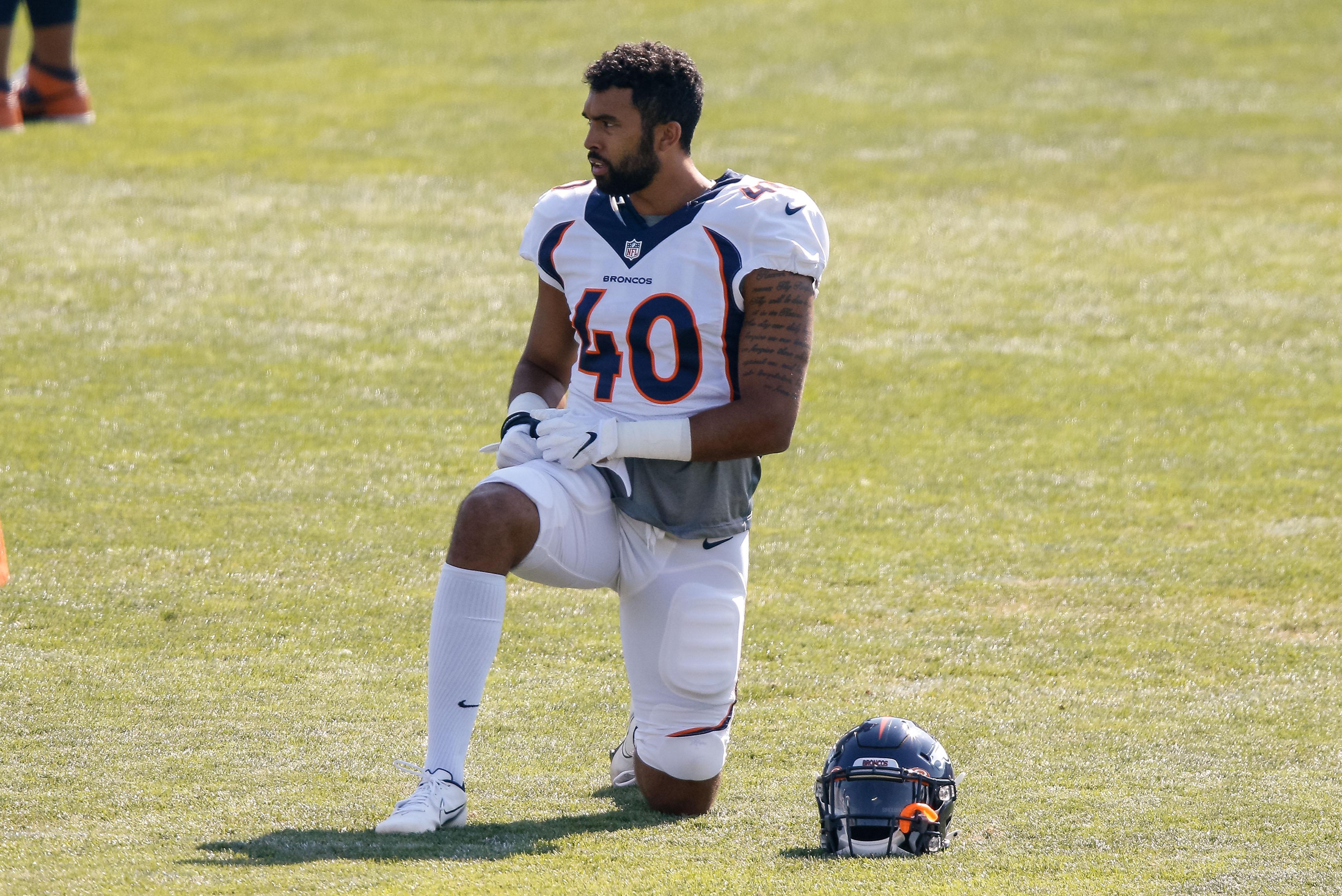 Denver Broncos linebacker Justin Strnad (40) during training camp at Dove Valley.