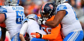 Malik Reed with a sack against the Lions in 2019. Credit: Ron Chenoy, USA TODAY Sports.