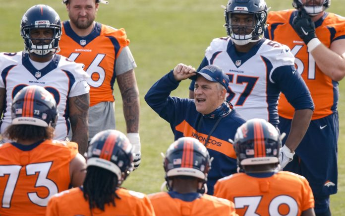 Vic Fangio with his team in Dove Valley during training camp. Credit: Isiah J. Downing, USA TODAY Sports.
