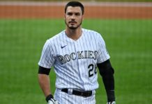 Nolan Arenado. Credit: Ron Chenoy, USA TODAY Sports.