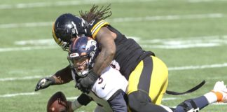 Drew Lock sacked and injured by Bud Dupree of the Steelers. Credit: Charles LeClaire, USA TODAY Sports.