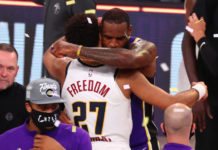 Los Angeles Lakers forward LeBron James (23) greets Denver Nuggets guard Jamal Murray (27) after game five of the Western Conference Finals of the 2020 NBA Playoffs at AdventHealth Arena.