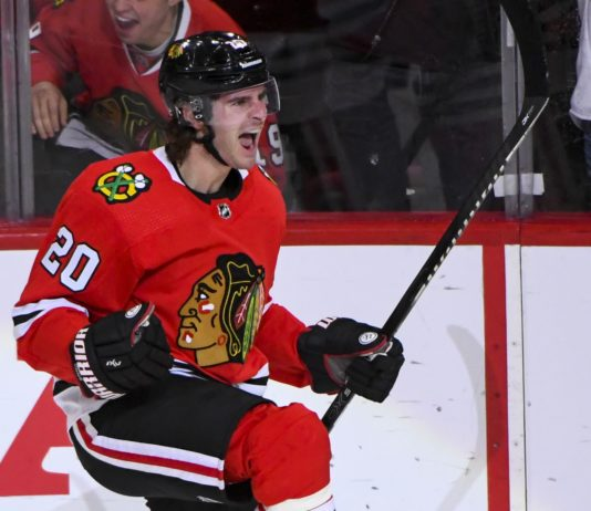 Brandon Saad, credit: Matt Marton, USA TODAY Sports.