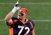 Garett Bolles points to the sky. Credit: Isaiah J. Downing, USA TODAY Sports.