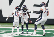 Denver Broncos wide receiver Jerry Jeudy (10) celebrates his touchdown with wide receiver K.J. Hamler (13) and offensive tackle Garett Bolles (72) during the first half against the New York Jets at MetLife Stadium.Denver Broncos wide receiver Jerry Jeudy (10) celebrates his touchdown with wide receiver K.J. Hamler (13) and offensive tackle Garett Bolles (72) during the first half against the New York Jets at MetLife Stadium.