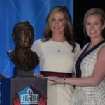 Beth (left) and Brittany Bowlen (right) at Pat Bowlen's Hall of Fame induction ceremony. Credit: Kirby Lee, USA TODAY Sports.