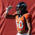 "Phillip Lindsay ""Mile High Salutes"" his touchdown run on Sunday. Credit: Isaiah J. Downing, USA TODAY Sports."