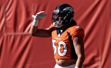 """Phillip Lindsay """"Mile High Salutes"""" his touchdown run on Sunday. Credit: Isaiah J. Downing, USA TODAY Sports."""