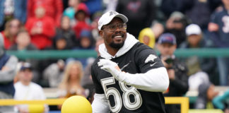 Denver Broncos linebacker Von Miller (58) during the dodgeball competition at the Pro Bowl Skills Showdown at ESPN Wide World of Sports.
