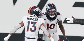 Jeudy and Hamler celebrate a Broncos touchdown. Credit: Vincent Carchietta, USA TODAY Sports.