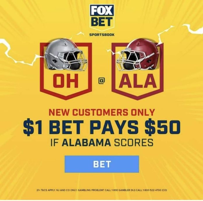 grab 50-1 odds alabama score point national championship fox bet