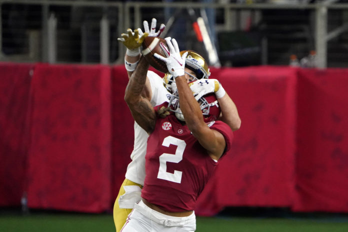 Alabama Crimson Tide defensive back Patrick Surtain II (2) breaks up a pass intended for Notre Dame Fighting Irish wide receiver Ben Skowronek (11) in the fourth quarter during the Rose Bowl at AT&T Stadium.