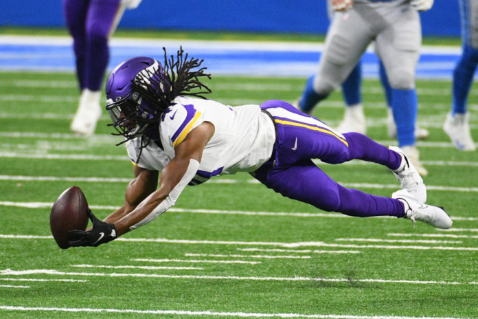 Minnesota Vikings free safety Anthony Harris (41) is unable to make an interception against the Detroit Lions during the first quarter at Ford Field.