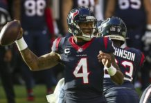 Deshaun Watson throws in what could be his last game with the Texans. Credit: Troy Taormina, USA TODAY Sports.