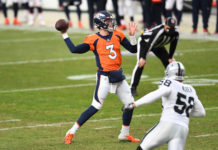 Denver Broncos quarterback Drew Lock (3) passes the ball in the first quarter against the Las Vegas Raiders at Empower Field at Mile High.