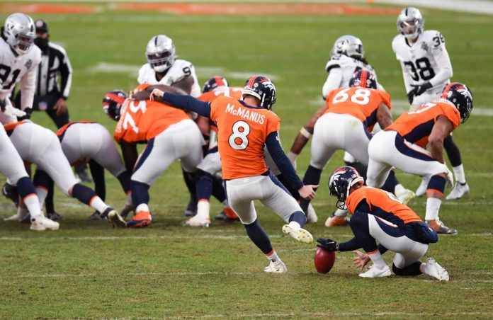 Denver Broncos kicker Brandon McManus (8) attempts a field goal against the Las Vegas Raiders during the second quarter at Empower Field at Mile High.