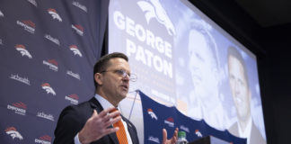 Denver Broncos general manager George Paton during a press conference at UCHealth Training Center in Centennial, CO, January 19, 2021. Photo by Gabriel Christus