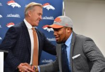 John Elway and Bradley Chubb -- one of the best picks the last four years -- in 2018. Credit: Ron Chenoy, USA TODAY Sports.