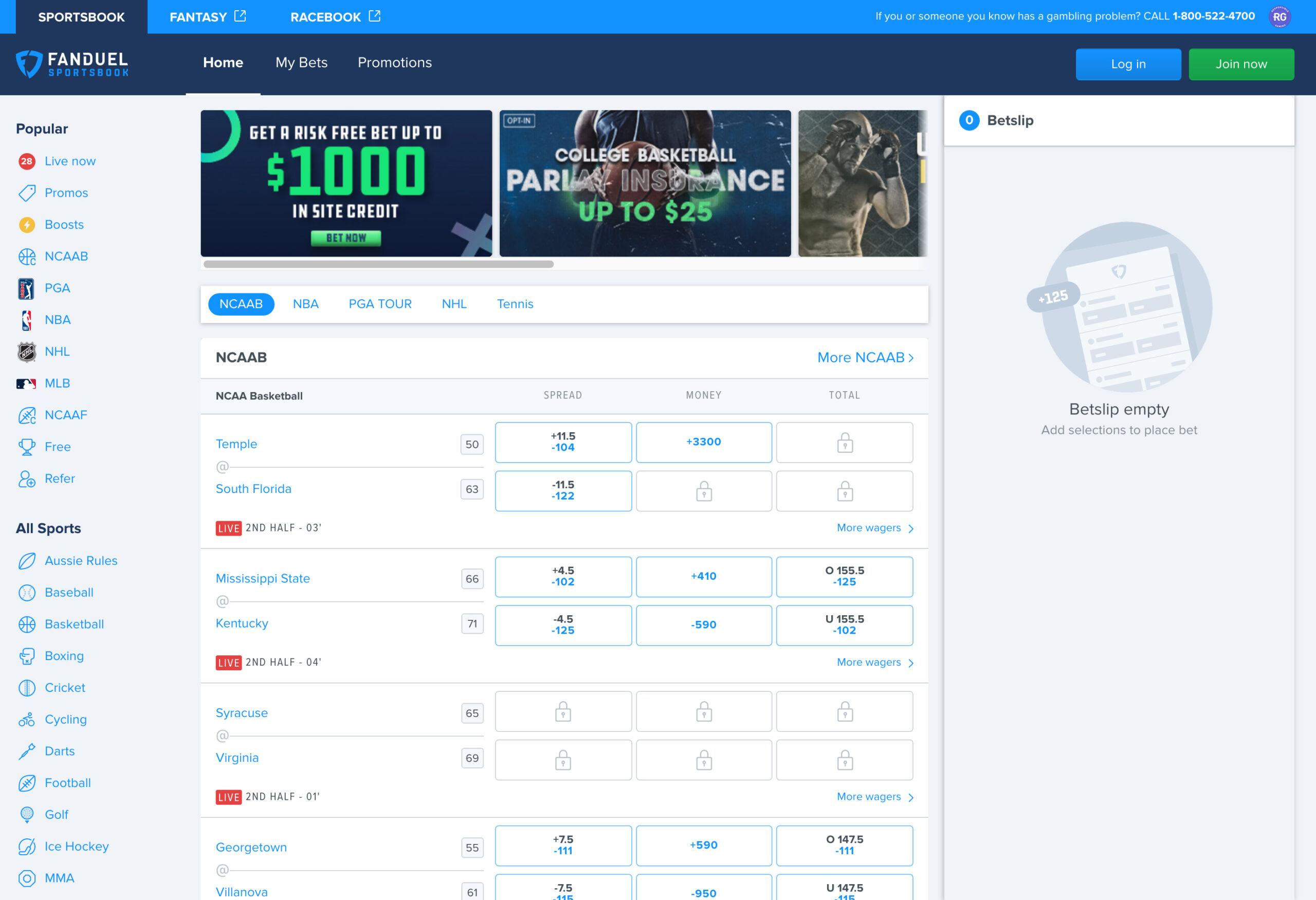 FanDuel Sportsbook Colorado, Website Screenshot