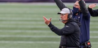 Vic Fangio in Oct. 2020. Credit: Paul Rutherford, USA TODAY Sports.