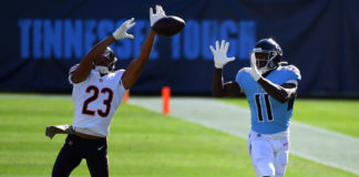 Chicago Bears cornerback Kyle Fuller (23) breaks up a pass intended for Tennessee Titans wide receiver A.J. Brown (11) during the first half at Nissan Stadium.
