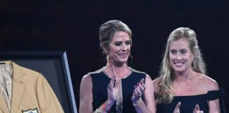 Brittany Bowlen (right) at Pat Bowlen's enshrinement. Credit: Kirby Lee, USA TODAY Sports.