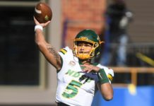 NDSU quarterback Trey Lance (5) prepares to make a pass in the Dakota Marker game against the Jacks on Saturday, Oct. 26, 2019 at Dana J. Dykhouse Stadium in Brookings, S.D.