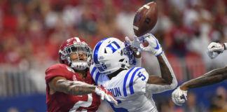 Alabama Crimson Tide defensive back Patrick Surtain II (2) defends a pass against Duke Blue Devils wide receiver Jalon Calhoun (5) during the first quarter at Mercedes-Benz Stadium.