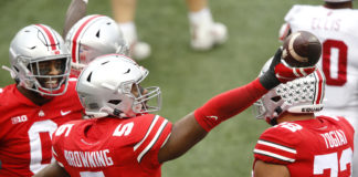 Ohio State Buckeyes linebacker Baron Browning (5) celebrates his fumble recovery during the second quarter against the Indiana Hoosiers at Ohio Stadium.