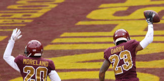 Washington Football Team cornerback Ronald Darby (23) celebrates with Washington Football Team cornerback Jimmy Moreland (20) after recovering a fumble in the end zone against the Cincinnati Bengals at FedExField.