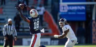 Auburn wide receiver Seth Williams (18) catches a pass at Jordan-Hare Stadium in Auburn, Ala., on Saturday, Dec. 5, 2020. Texas A&M defeated Auburn 31-20.
