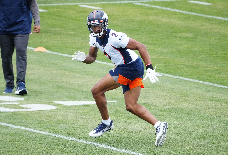 Denver Broncos cornerback Pat Surtain II (2) practices during rookie minicamp at the UCHealth Training Center.