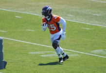 Denver Broncos running back Melvin Gordon (25) runs with the ball during an offseason workout at the UCHealth Training Center.