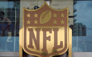 NFL Logo at NFL Honors in 2020. Credit: Kirby Lee, USA TODAY Sports.