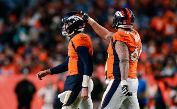 Denver Broncos quarterback Drew Lock (3) and offensive guard Dalton Risner (66) in the fourth quarter against the Oakland Raiders at Empower Field at Mile High.